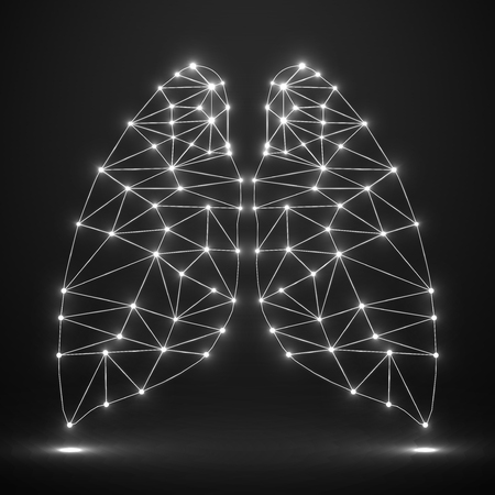 lung transplant: Abstract human lung, network connections.  Illustration