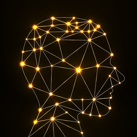 Abstract polygonal head with glowing dots and lines, network connections.