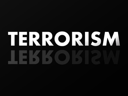 reflection mirror: The word TERRORISM in mirror reflection.