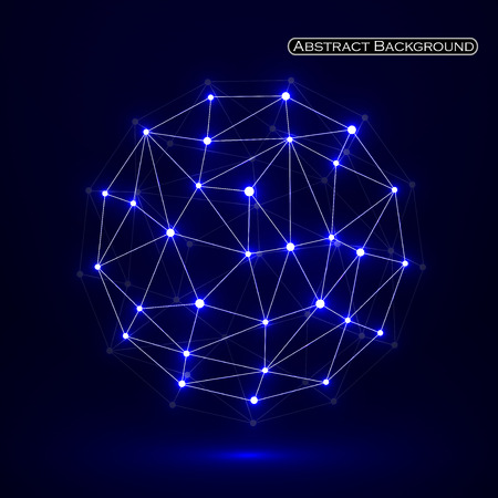 Abstract polygonal sphere, network connections. Futuristic technology style. Vector illustration. Eps 10
