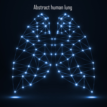 lung transplant: Abstract human lung, network connections. Vector illustration.