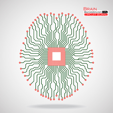 electronical: Brain. Cpu. Circuit board. Vector illustration. Eps 10