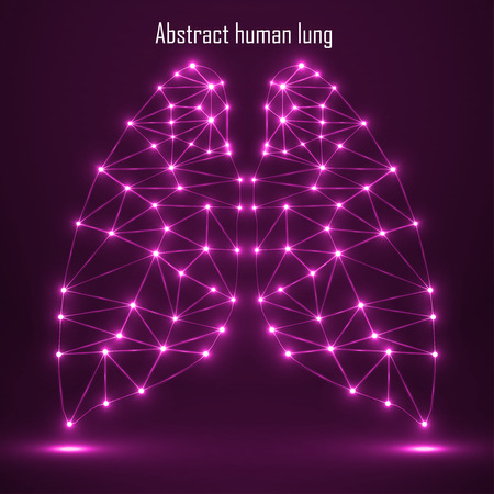 Abstract human lung, network connections. Vector illustration. Eps 10 Vettoriali