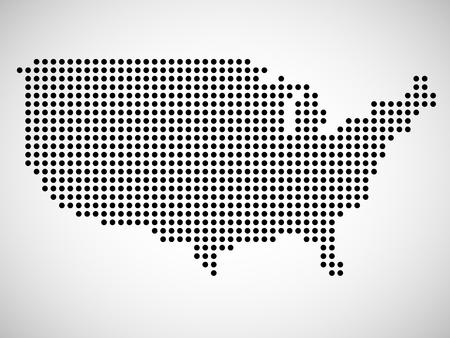 Zusammenfassung Karte der USA aus runden Punkten. Illustration