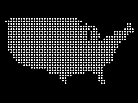 wor: Abstract map of USA from round dots.  Illustration