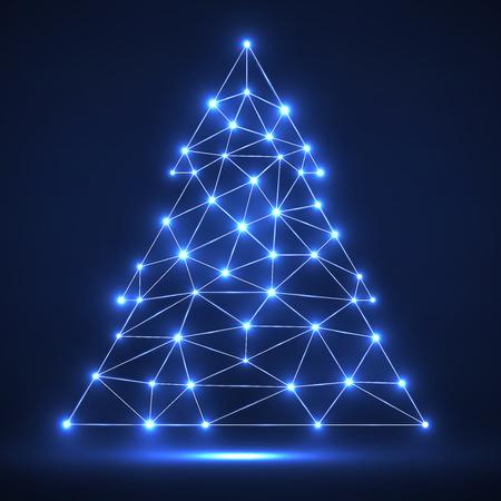 Abstrakter polygonaler Weihnachtsbaum mit glühenden Punkten und Linien, Netzverbindungen. Vektor-Illustration. Eps 10