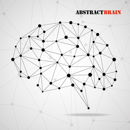 Abstract geometric brain with triangular polygons, network connections.