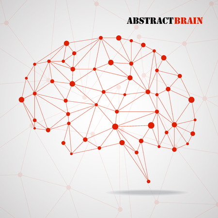 Abstract geometric brain, network connections. Vector illustration.