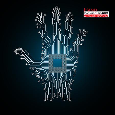 Mano. UPC. Placa de circuito. Ilustración del vector. Ilustración de vector