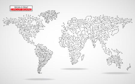 世界地図。回路基板です。技術の背景。ベクトルの図。Eps 10  イラスト・ベクター素材