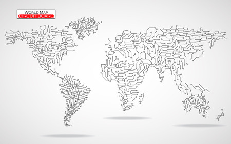 World Map. Circuit board. Technology background. Vector illustration. Eps 10 Фото со стока - 50984532