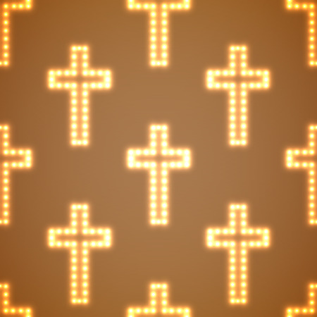protection of the bible: Glowing religious crosses seamless pattern. Vector illustration. Eps 10 Illustration