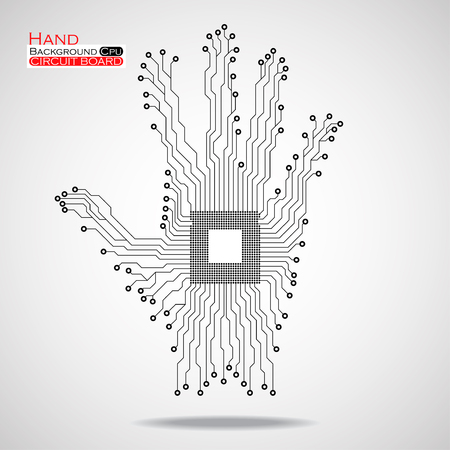 semiconductors: Hand. Cpu. Circuit board. Vector illustration. Illustration