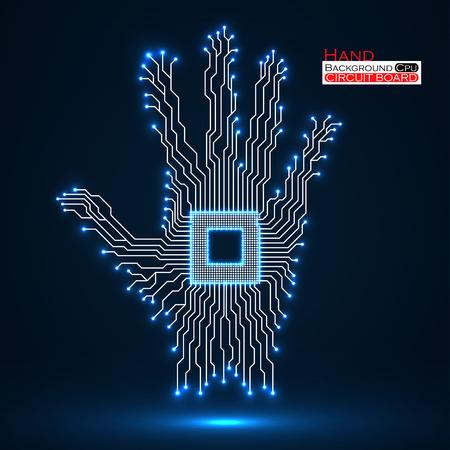 Neon hand Cpu. Circuit board illustration. Vektorové ilustrace