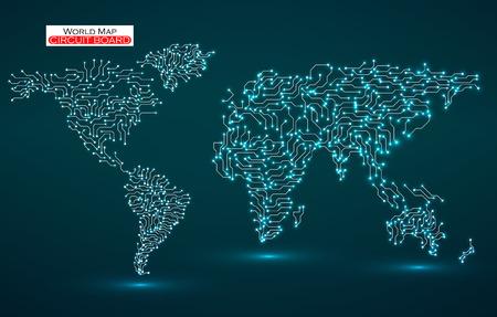 World Map Circuit board Technology background.