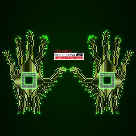 Neon hands Circuit board.