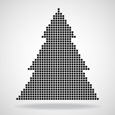 christmas tree illustration: Abstract christmas tree from pixel. Vector illustration. Illustration