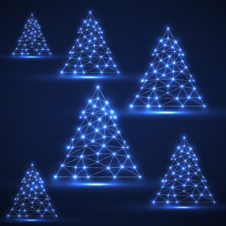 Abstract polygonal Christmas trees with glowing dots and lines, network connections. Vector illustration.