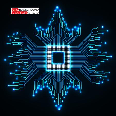 electronical: Cpu. Microprocessor. Microchip. Circuit board. Vector illustration Illustration