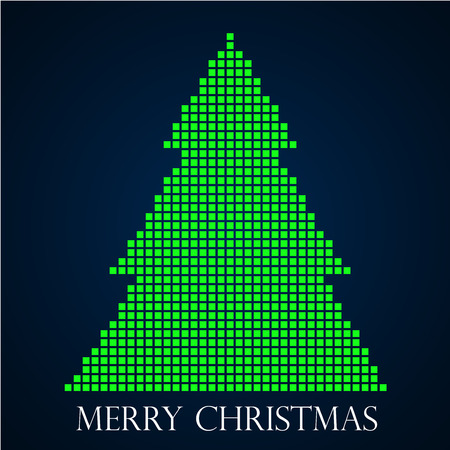 christmas tree illustration: Abstract christmas tree from pixel. Vector illustration. Illustration