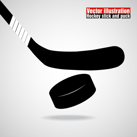 puck: Hockey stick and puck. Vector illustration Illustration