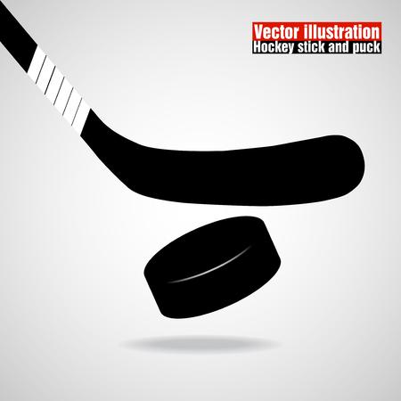 Hockey stick and puck. Vector illustration Illustration