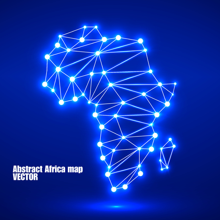 Abstract polygonal Africa map with glowing dots and lines, network connections. Vector illustration. Eps 10