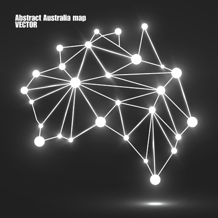 Abstract polygonal Australia map with glowing dots and lines, network connections. Vector illustration. Eps 10  イラスト・ベクター素材