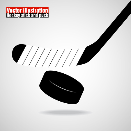 puck: Hockey stick and puck. Illustration