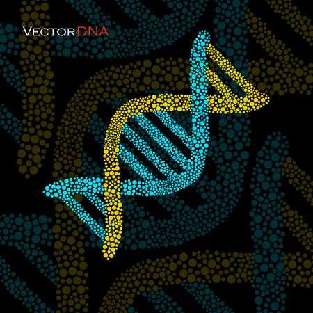 microscopic structure of cell: Colorful DNA, molecular structure. Vector illustration. Illustration
