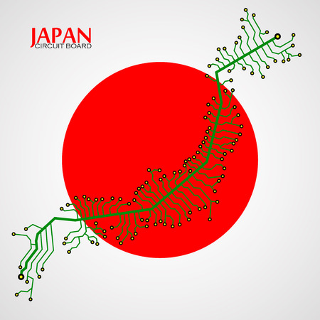 electronic background: Map of Japan with electronic circuit. Technology background.