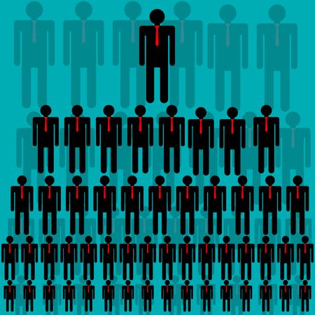 jerarquia: Jerarquía de la empresa, la estructura piramidal, red de negocios. Ilustración del vector.