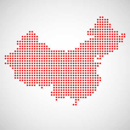 beijing: Abstract map of China from round dots. Vector illustration. Eps10