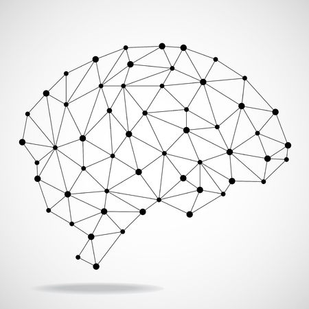 Abstract geometric brain, network connections.
