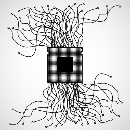 chaotic: Cpu. Microprocessor. Abstract chaotic lines.