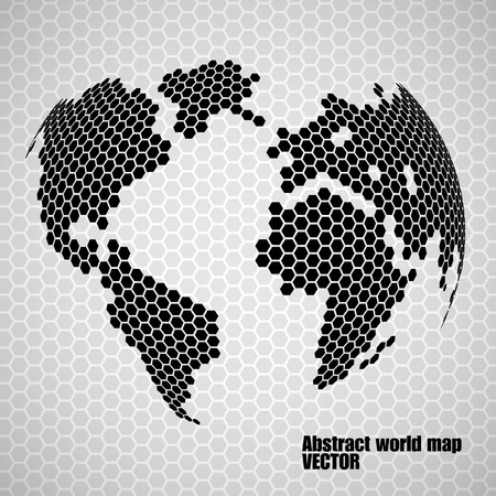 Abstract globe earth of hexagons.