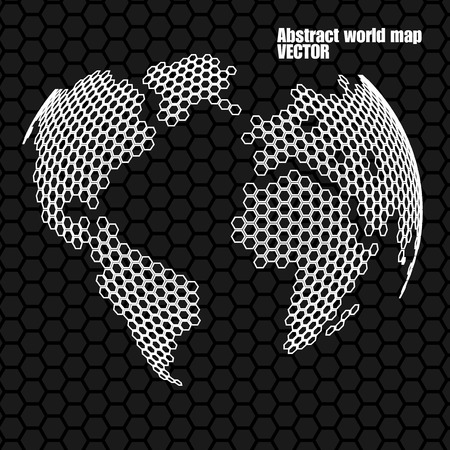 Abstract globe earth of hexagons. Vector illustration. Eps 10