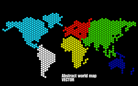 earth map: Abstract world map of hexagons. Vector illustration. Eps 10 Illustration