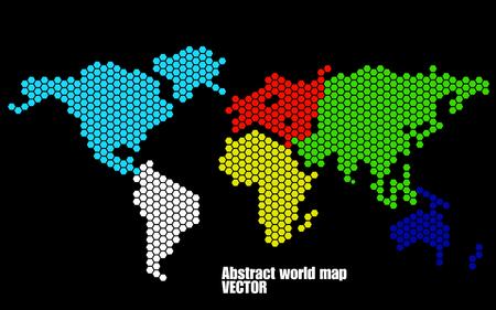Abstracte wereld kaart van zeshoeken. Vector illustratie. eps 10