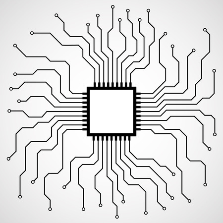 electronical: Cpu. Microprocessor. Microchip. Circuit board. Vector illustration. Eps 10