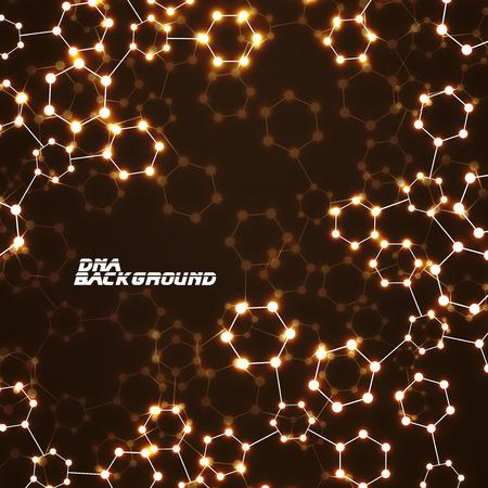 organic chemistry: brillante molécula de ADN. Fondo abstracto. Ilustración del vector. eps10