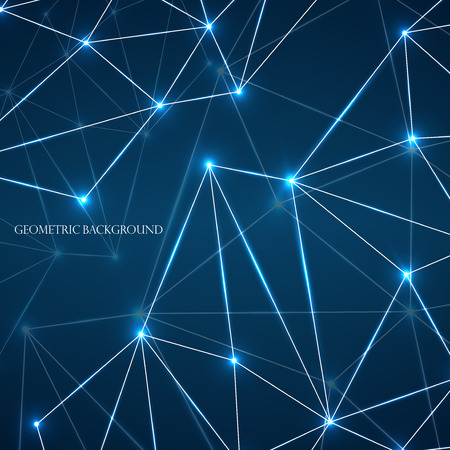 Abstract geometric background with connecting dots and lines. Modern technology concept. Vector illustration. Eps 10  イラスト・ベクター素材