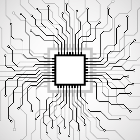 Cpu. Microprocessor. Microchip. Circuit board. Vector illustration. Eps 10
