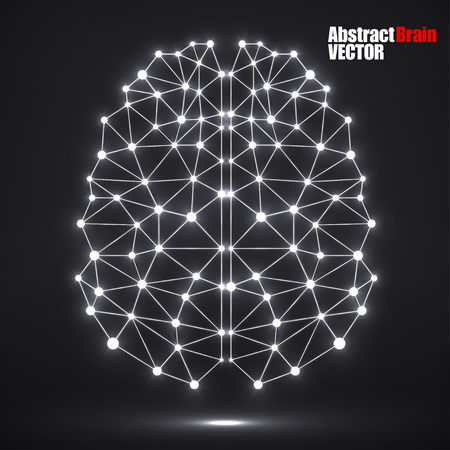 eps 10: Abstract polygonal brain with glowing dots and lines, network connections. Vector illustration. Eps 10