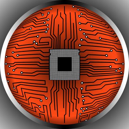 microprocessor: Cpu. Microprocessor. Microchip. Circuit board. Vector illustration. Eps 10