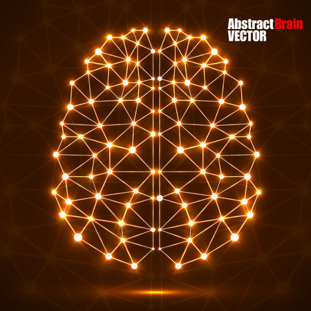 Abstract polygonal brain with glowing dots and lines, network connections. Vector illustration Illustration