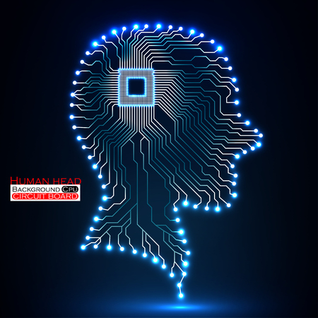 electronical: Neon human head. Cpu. Circuit board. Vector illustration