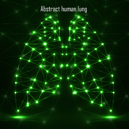 lung transplant: Abstract human lung, network connections. Vector illustration