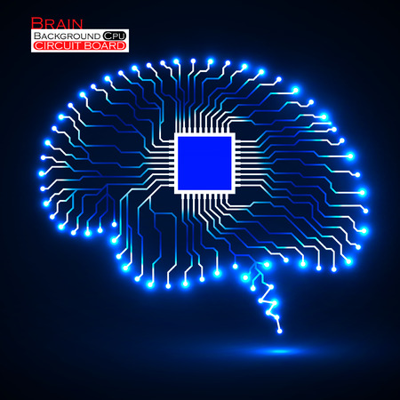 ネオン脳。Cpu。回路基板です。技術の背景を抽象化します。ベクトル図