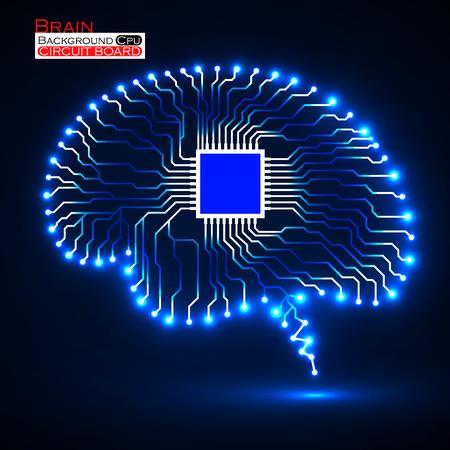 cerveau Neon. CPU. Circuit board. Abstrait arrière-plan de la technologie. Vector illustration